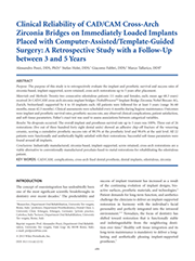Clinical Reliability of CAD/CAM Cross-Arch Zirconia Bridges on Immediately Loaded Implants Placed with Computer-Assisted/Template-Guided Surgery: A Retrospective Study with a Follow-Up between 3 and 5 Years